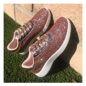 New Arrival- Rose Gold Glitter Sneakers, Gym Shoes